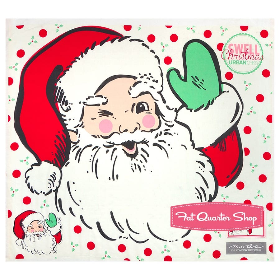 MODA VINTAGE SANTA CHRISTMAS FABRIC 1 YARD