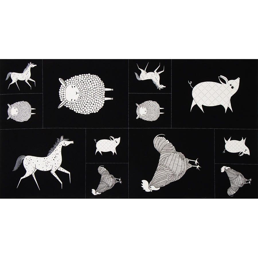 Fat Quarter Horse Farm Animals Cotton Quilting Sewing Fabric