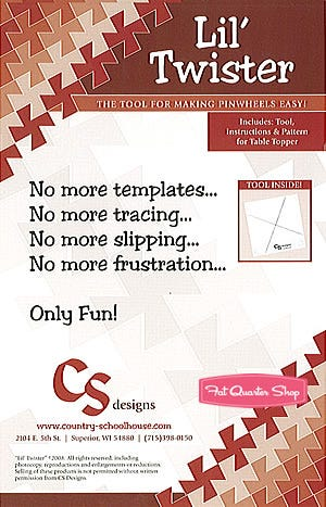 formerly CS Country Schoolhouse Designs 1.5 ITTY BITTY Twister The Twister Sisters Acrylic Quilting Template Ruler for Pinwheels