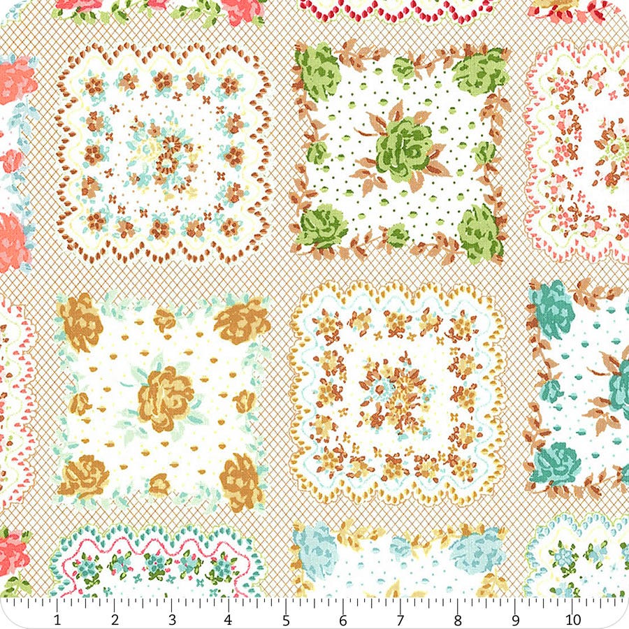 Granny Chic Handkerchief Fabric Lori Holt Riley Blake Vintage Pink Blue Green