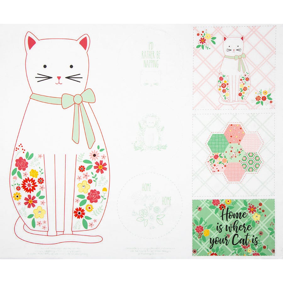 CATS Fabric Fat Quarter Cotton Craft Quilting I Love My Kitty BLUE Free Spirit