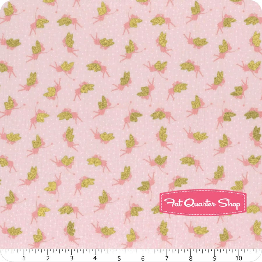 Unicorns on Pink Small Things Mystical /& Magical Fabric With Gold Metallic