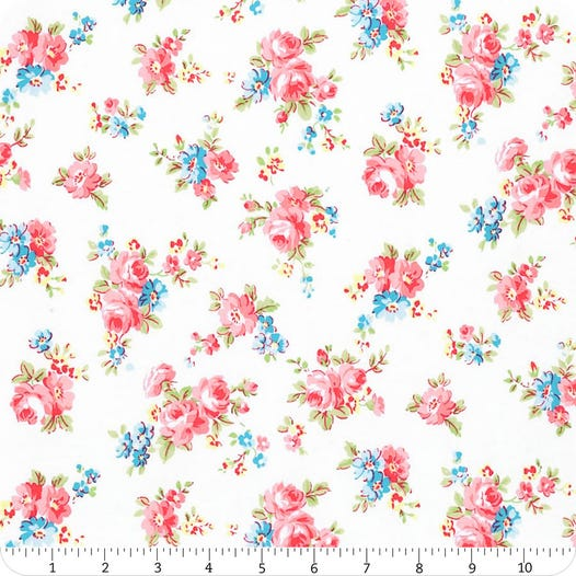 Antique Flower in Pastel Snow White Small Bouquet Yardage | SKU# 35066L-10