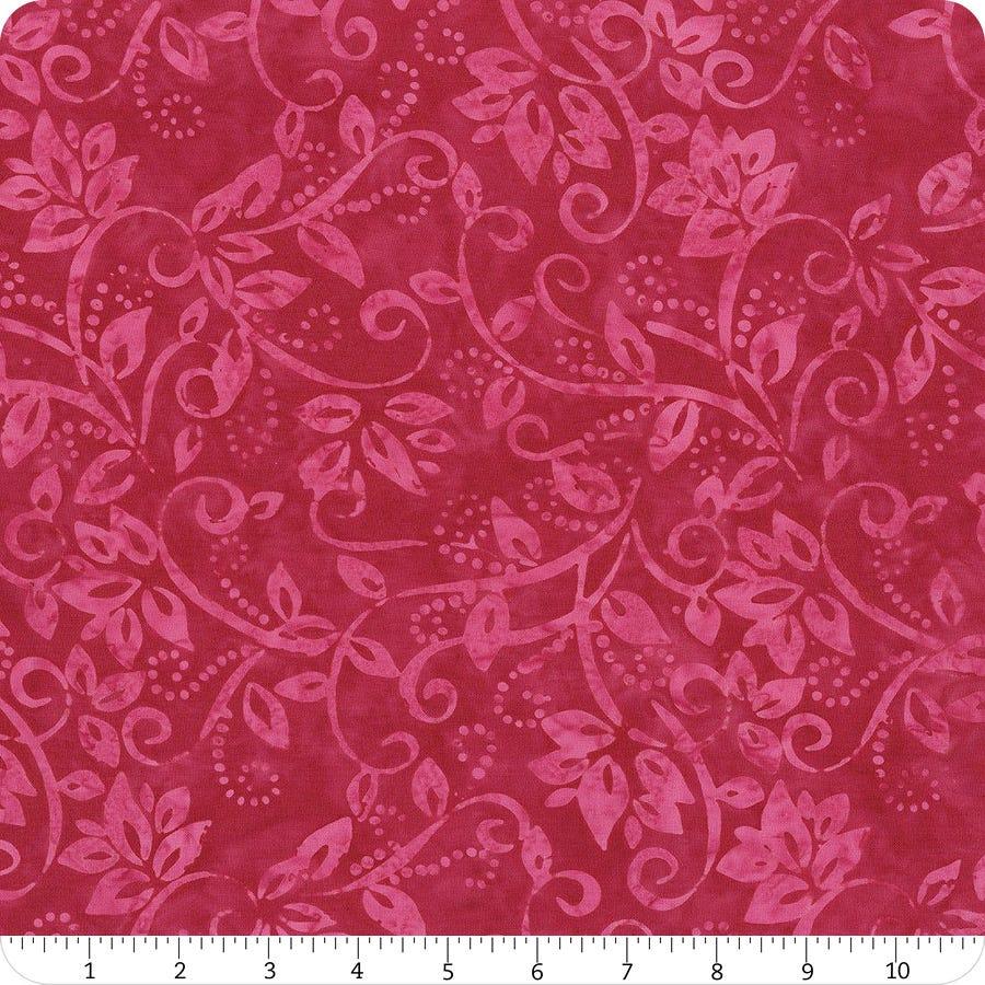 Wilmington Batiks Hot Pink Leafy Scroll Yardage Sku 22238 336