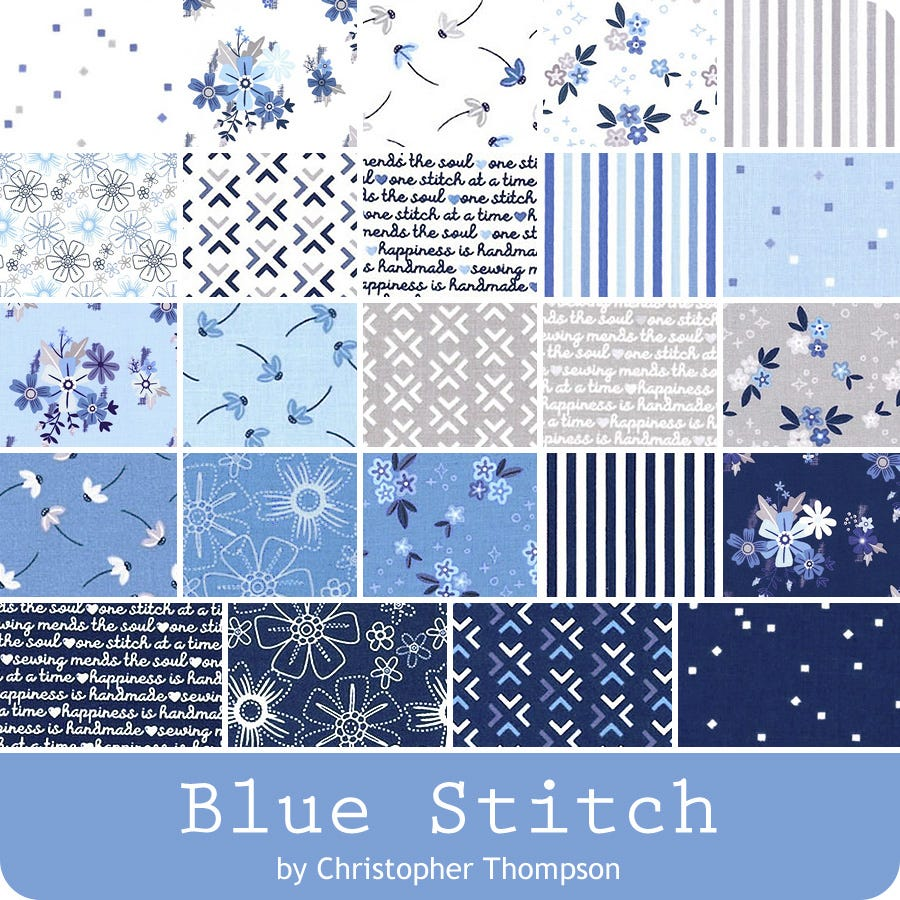 Blue Stitch 2.5 Inch Rolie Polie by Christopher Thompson for Riley Blake Designs 40pcs