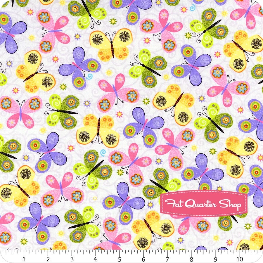 Fat Quarter Morning Meadow Butterflies Allover Blue Cotton Quilting Fabric