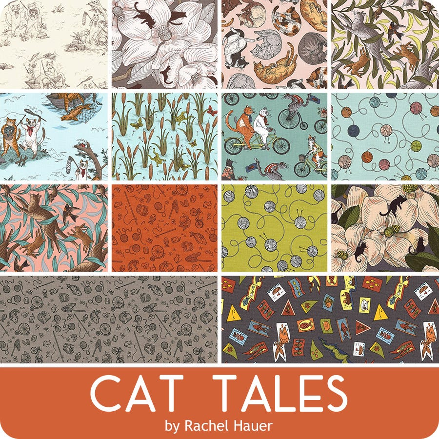FQ-1402-11 Whiskers /& Tails Cats Palette 11 Fat Quarter Bundle by Amylee Weeks for Robert Kaufman