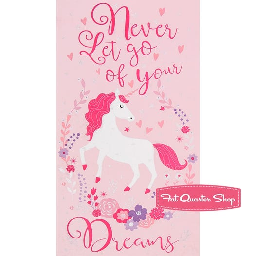 Timeless Treasures Pink Metallic Never Let go of Your Dreams Unicorn Quilt  Panel | SKU# CM6561-PINK