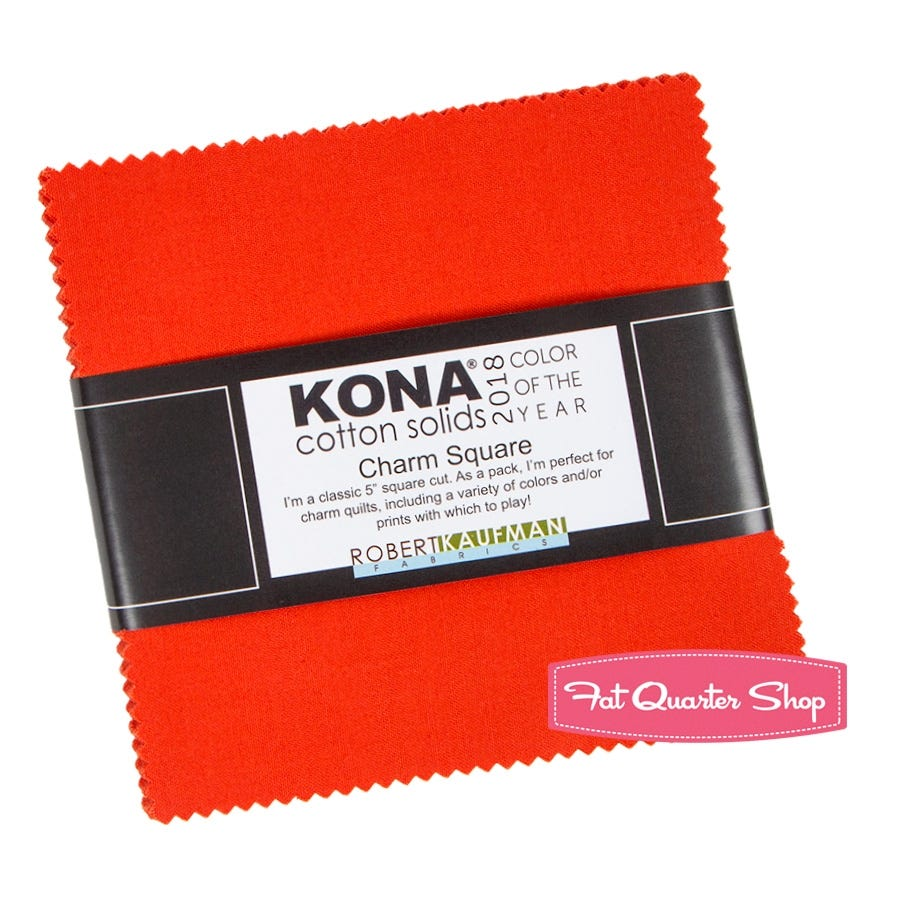Kona Cotton Solid 2.5-inch Squares Tiger Lily 2018 Color of the Year