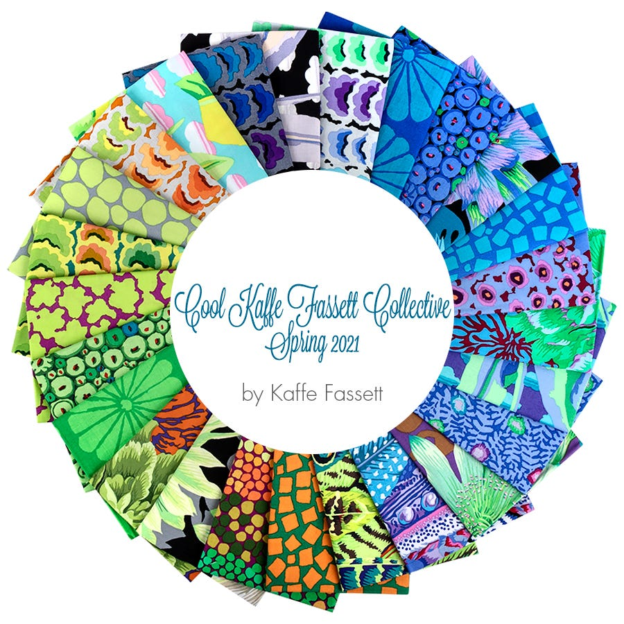 bright fabric printed quilting cotton Free Spirit pre-cut quilting fabric Kaffe Fassett Collective New February 2021 fat quarter bundle