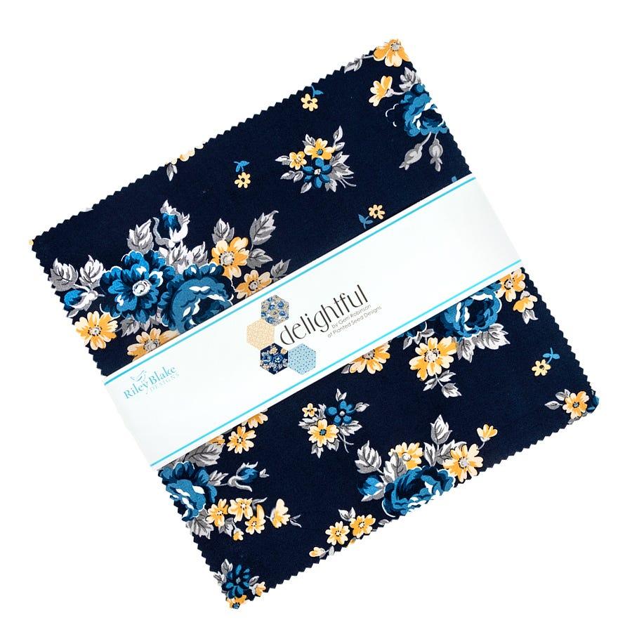 Riley Blake One 1 Yard Cut Bty Blue Yellow Gray Floral Flowers Fabric Delightful Sky Blue Gold Floral Fabric Gerri Robinson C10250-Blue
