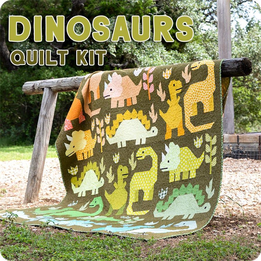 Large Size Dinosaurs Quilt Kit by Elizabeth Hartman for Robert Kaufman Fabrics