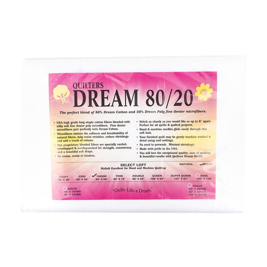 Throw Size Quilt Batting Quilters Dream Pink Blend 80//20 Cotton Poly Blend