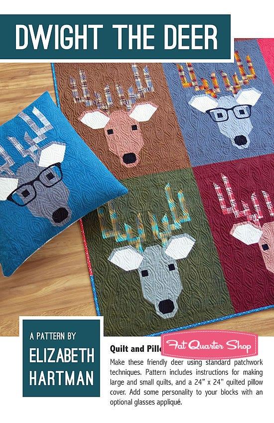 Dwight The Deer Quilt /& Pillow Pattern *NEW* Elizabeth Hartman