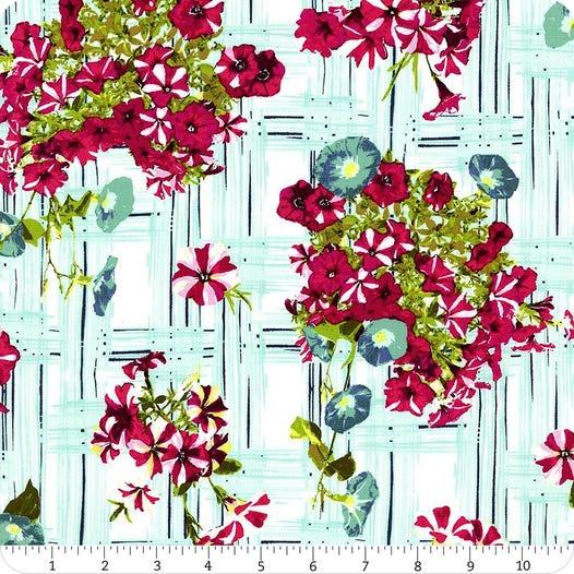 Floralish Petunia Garden Treillage Yardage Sku Fsh 17408 Fat