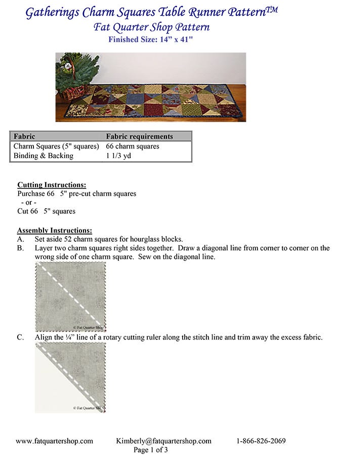 Easy To Sew Fat-Quarter Friendly Digital Download Beginning Level Gatherings Fat-Quarter Table Runner and Placemat Pattern Instant PDF