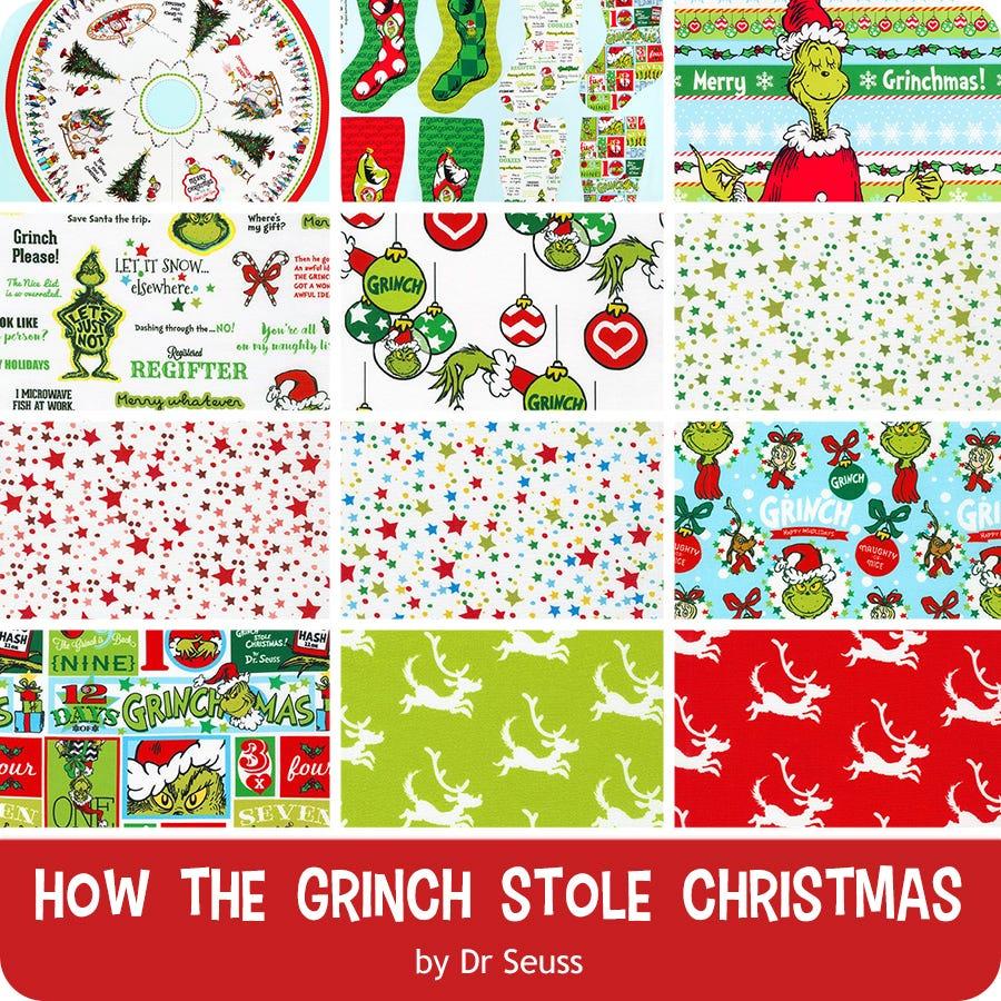 Grinch Christmas Tree Advent Calendar PANEL 36x44 From Robert Kaufman/'s How the Grinch Stole Christmas