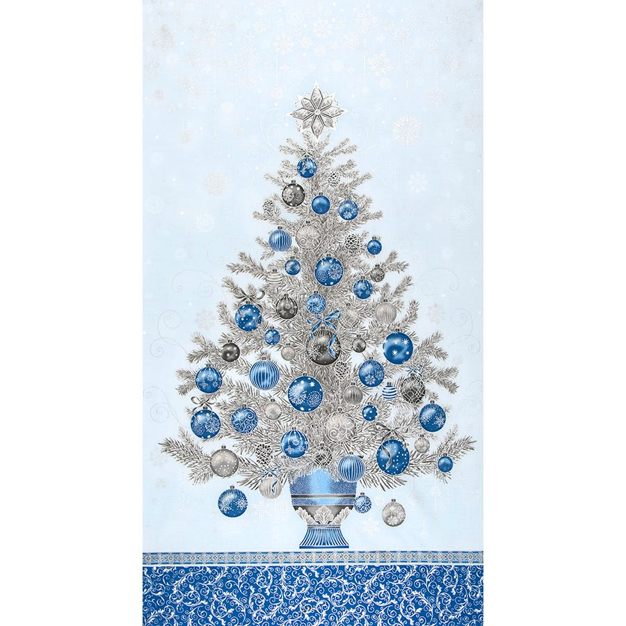 Christmas Fabric Panels 2020 2020 Holiday Flourish Blue Christmas Tree Quilt Panel | SKU# 19260