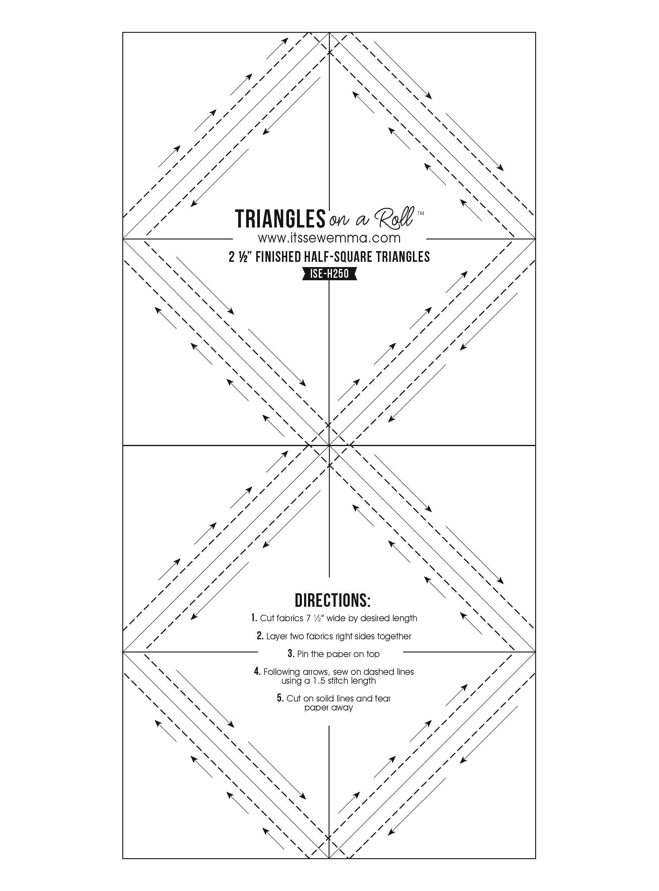 4.5 Triangles On A Roll Half Square Paper-Grid