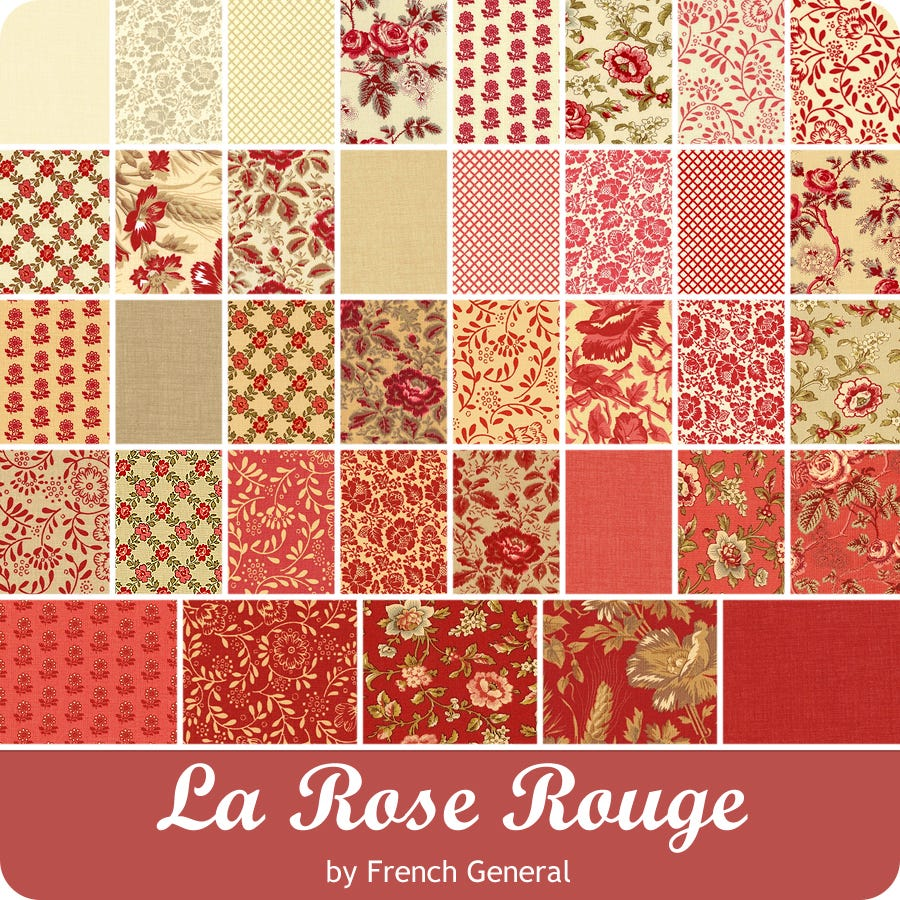 La Rose Rouge Mini Charm Pack by French General; 42-2.5 Precut Fabric Quilt Squares