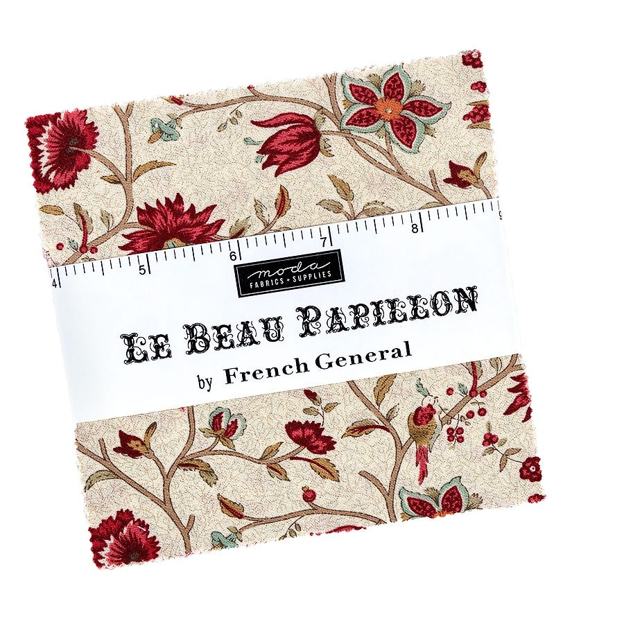 """Moda BON VOYAGE French General CHARM PACK 42-5/"""" Quilt Squares"""