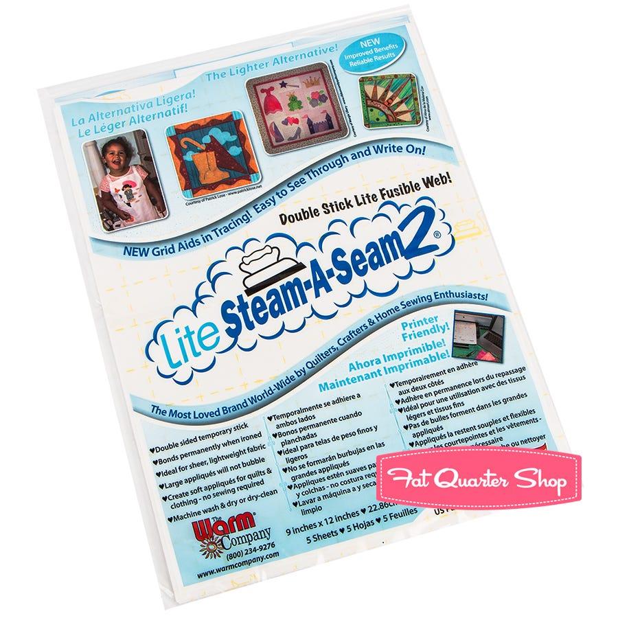 "5517WNN 5 Sheets,9 x 12/"",Warm Co Lite Steam A Seam 2 Double Stick Fusible Web"