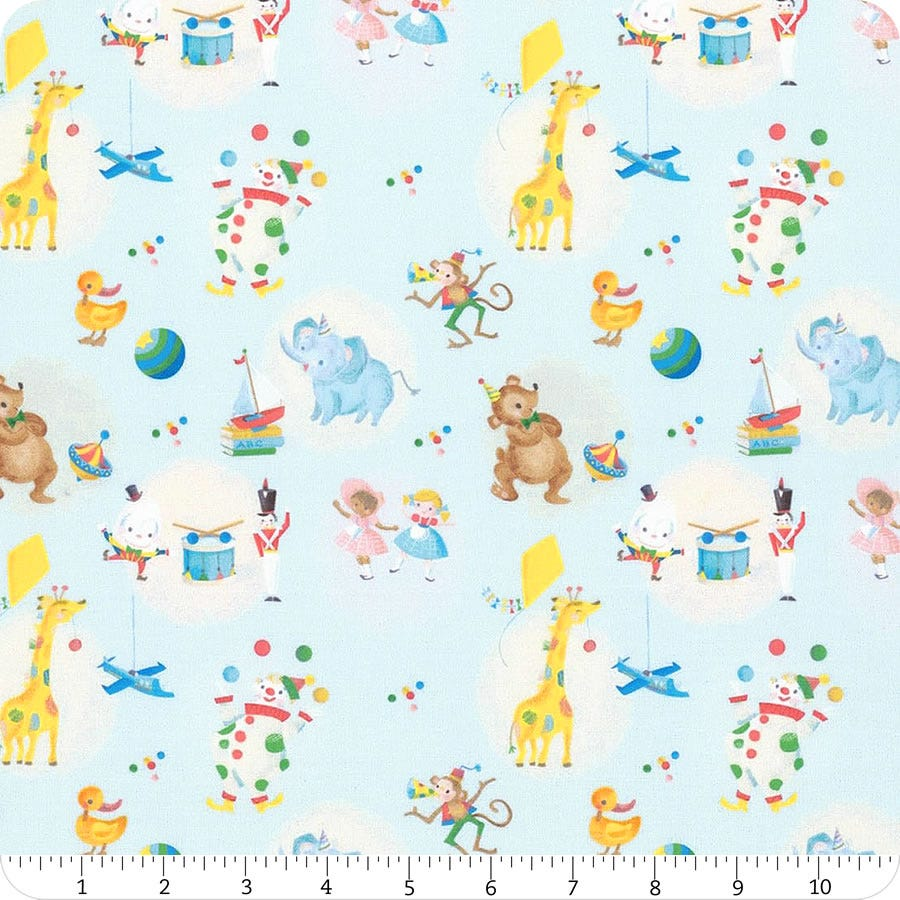 The Little Engine That Could Choo Choo in Blue your choice of cut Licensed by Riley Blake Designs