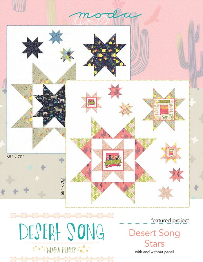 Desert Star Quilt Pattern Finished Size 76.5 X 84.5 Features Fabric From Desert Song Lavender Lime DLL107