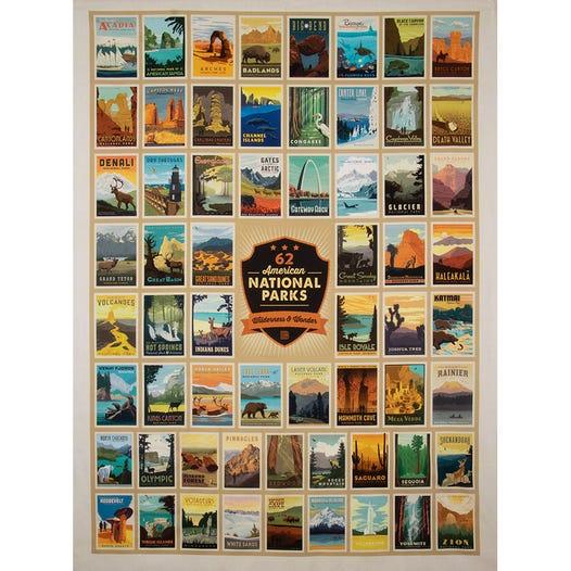 National Parks Black Posters Quilt Panel Sku C8780 Black Fat Quarter Shop