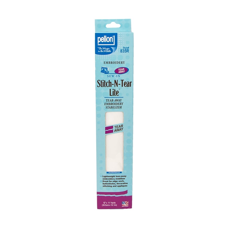 Pellon 835 Stitch-N-Tear Lite 12 x 11 yd Package White