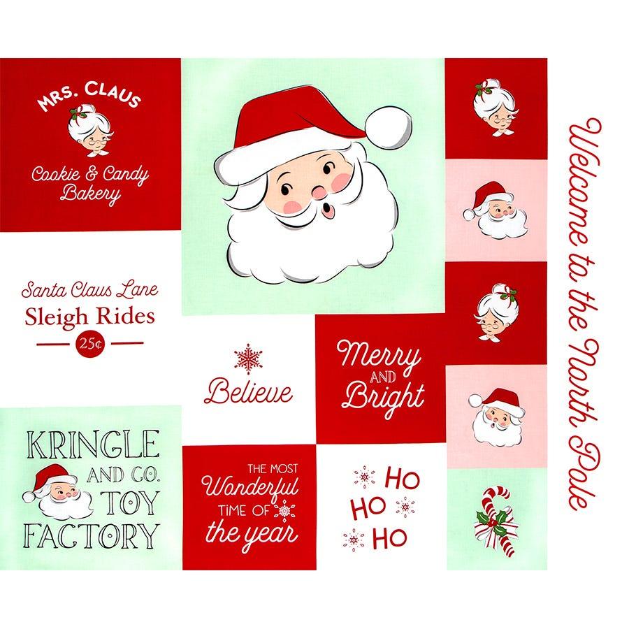 Santa /& Reindeer Christmas Digital Panel cotton quilt fabric Hoffman BTP 44x48