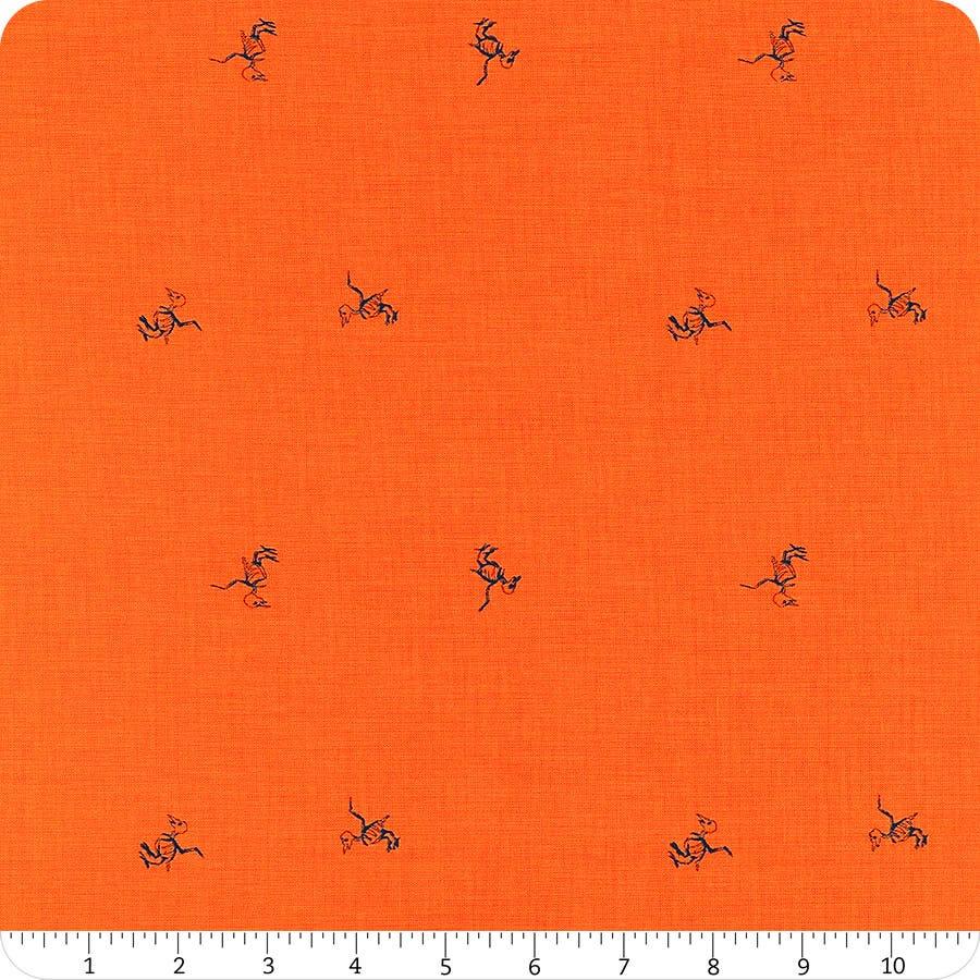 Riley Blake Designs; Halloween  100/% Cotton Fabric by the Yard SCAREDY CAT Orange Gray Bones Fabric by the Metre Orange fabric