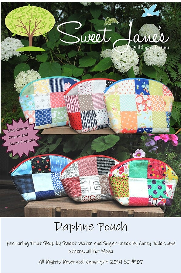 """Creatively Yours Zipper Pouch pattern by Sweet Jane/'s~ 2.5/"""" Squares or scraps"""