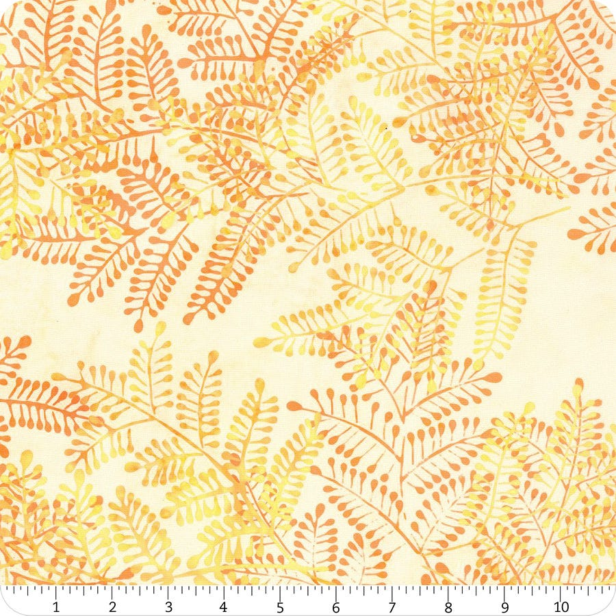 Primo Batiks BTY Brown Fern leaves