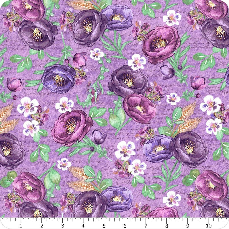 See Sizes Cotton Royal Purple Tone-on-Tone Floral