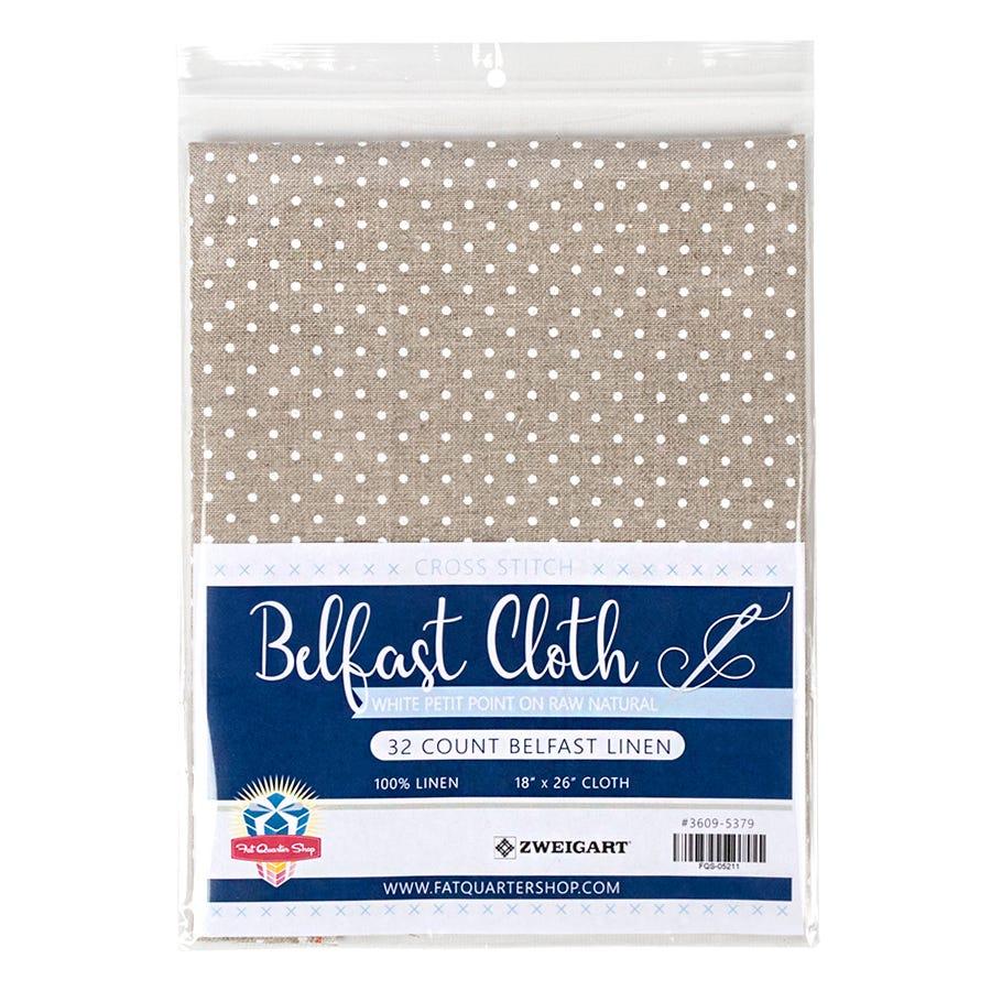 32 Belfast Raw Natural Linen Red Polka Dots Cross Stitch Fabric