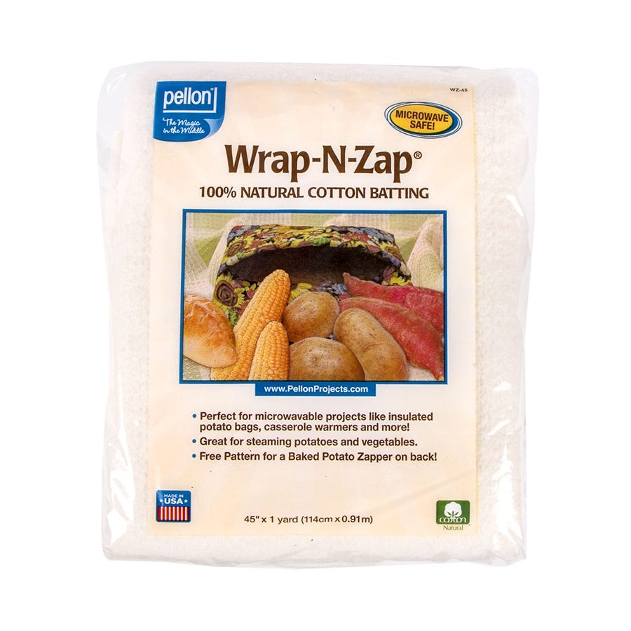 45 by 36-Inch 1 Pack Natural Pellon Wrap-N-Zap Cotton Quilt Batting