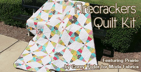 Firecrackers Quilt Kit featuring Prairie from Moda Fabrics