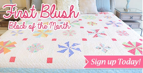 First Blush Block of the Month Featuring Ruby Red Designs for Windham Fabrics