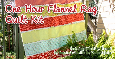 One Hour Flannel Rag Quilt Kit featuring Little Ruby Flannel by Bonnie & Camille