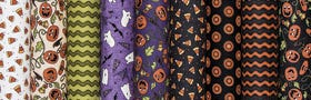 Pumpkin Party Flannel by Bonnie Sullivan for Maywood Studios